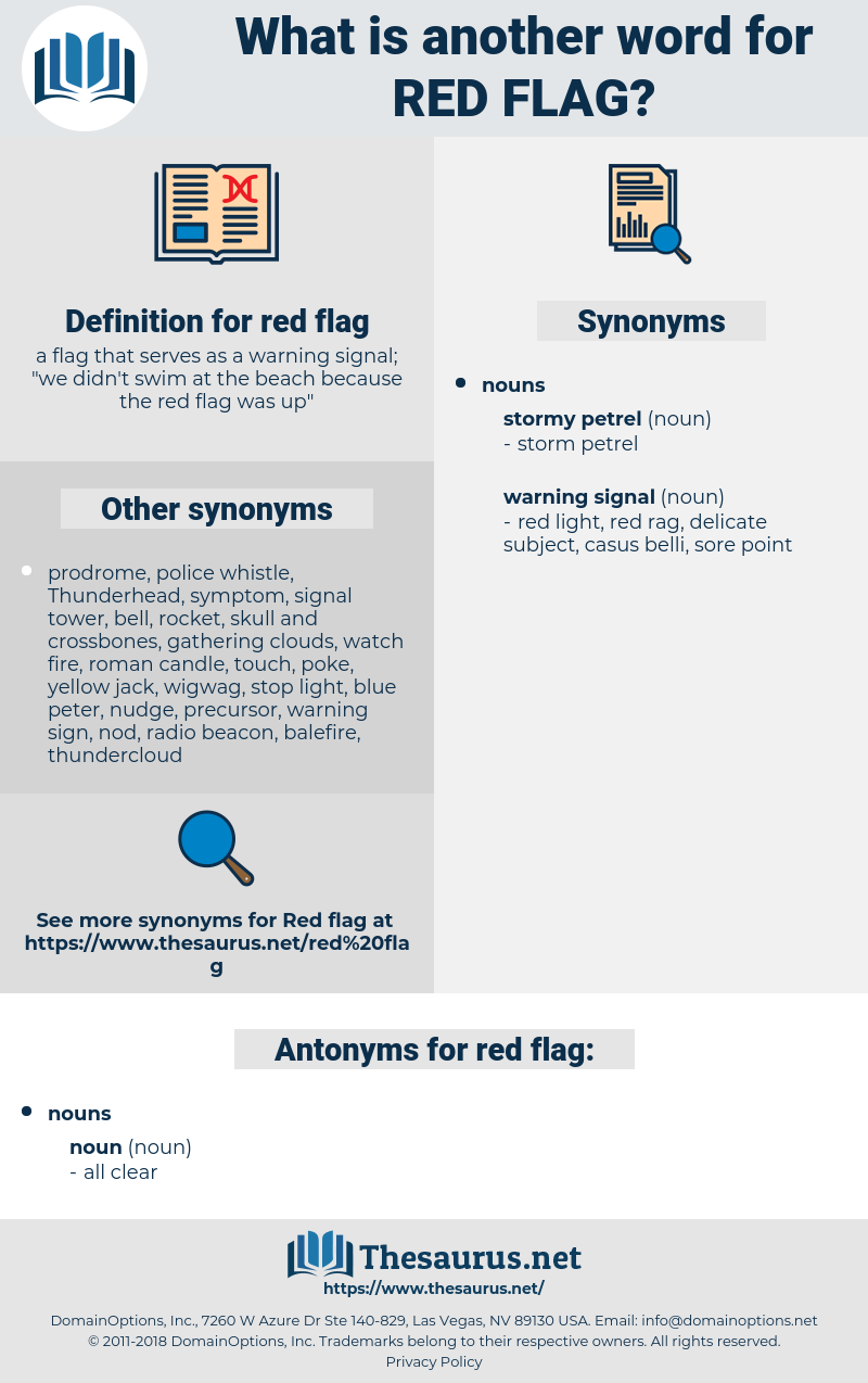 red flag, synonym red flag, another word for red flag, words like red flag, thesaurus red flag