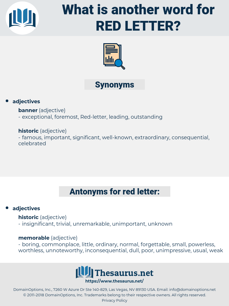 Red-letter, synonym Red-letter, another word for Red-letter, words like Red-letter, thesaurus Red-letter