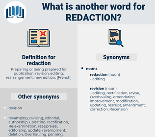 redaction, synonym redaction, another word for redaction, words like redaction, thesaurus redaction