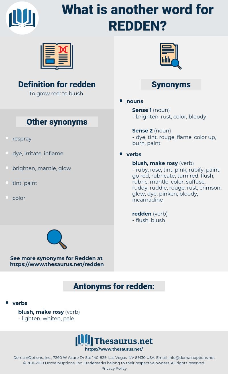 redden, synonym redden, another word for redden, words like redden, thesaurus redden
