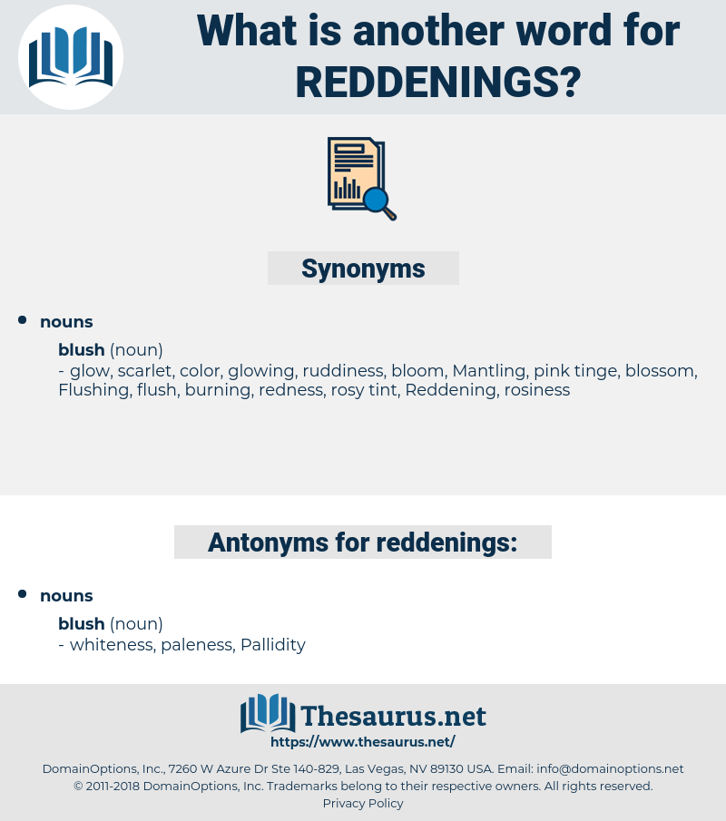 reddenings, synonym reddenings, another word for reddenings, words like reddenings, thesaurus reddenings