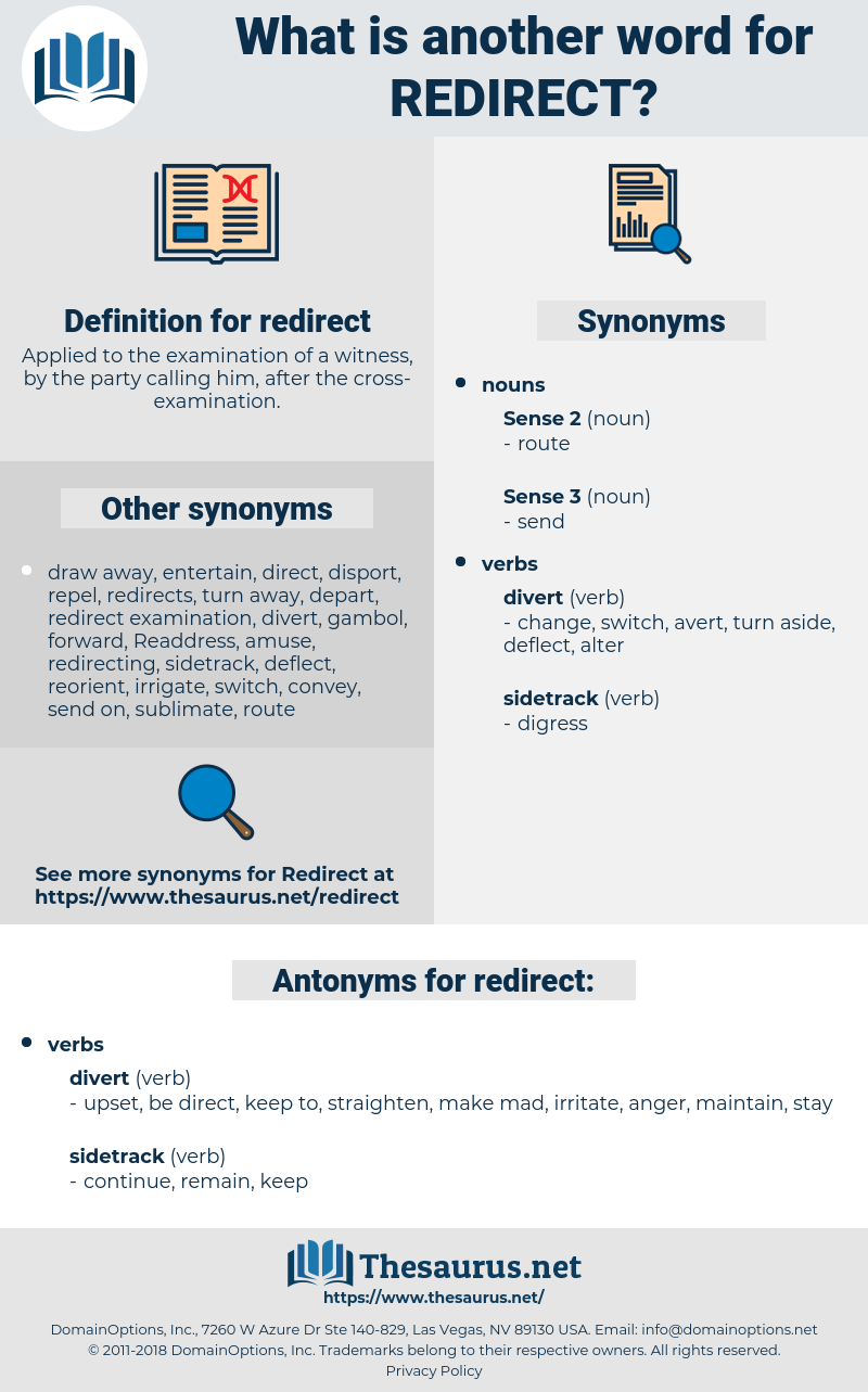 redirect, synonym redirect, another word for redirect, words like redirect, thesaurus redirect