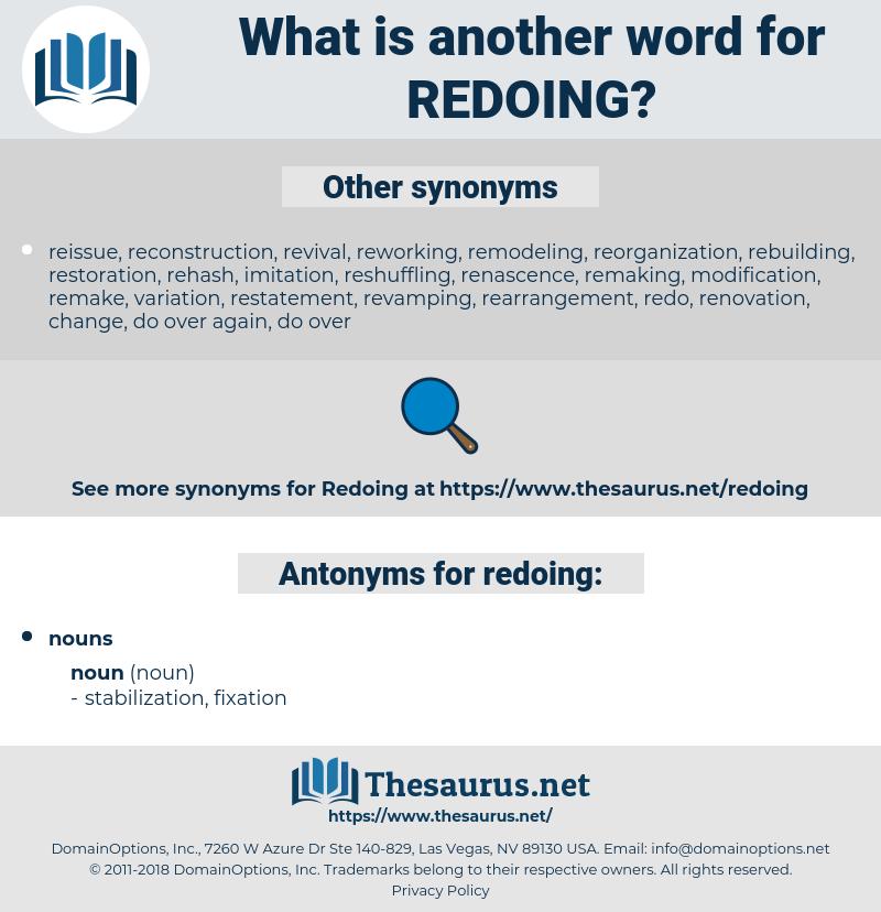 redoing, synonym redoing, another word for redoing, words like redoing, thesaurus redoing