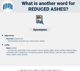 reduced ashes, synonym reduced ashes, another word for reduced ashes, words like reduced ashes, thesaurus reduced ashes