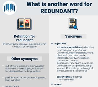 redundant, synonym redundant, another word for redundant, words like redundant, thesaurus redundant