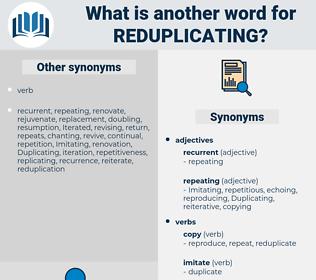 reduplicating, synonym reduplicating, another word for reduplicating, words like reduplicating, thesaurus reduplicating