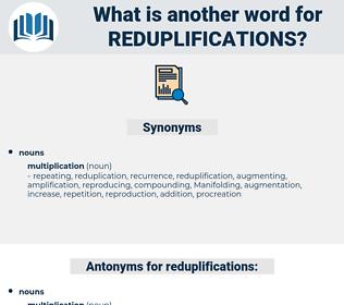 reduplifications, synonym reduplifications, another word for reduplifications, words like reduplifications, thesaurus reduplifications