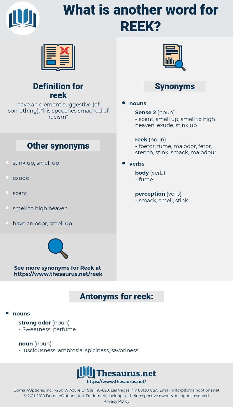 reek, synonym reek, another word for reek, words like reek, thesaurus reek