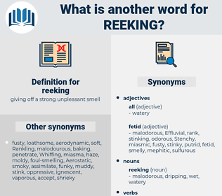 reeking, synonym reeking, another word for reeking, words like reeking, thesaurus reeking