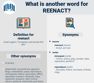 reenact, synonym reenact, another word for reenact, words like reenact, thesaurus reenact