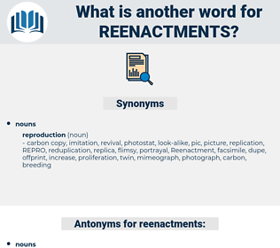 reenactments, synonym reenactments, another word for reenactments, words like reenactments, thesaurus reenactments