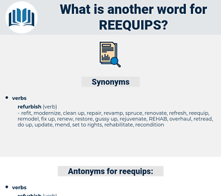 reequips, synonym reequips, another word for reequips, words like reequips, thesaurus reequips