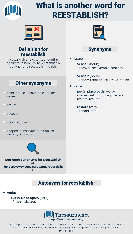 reestablish, synonym reestablish, another word for reestablish, words like reestablish, thesaurus reestablish