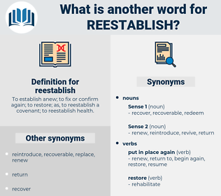 reestablish, synonym reestablish, another word for reestablish, words like reestablish, thesaurus reestablish