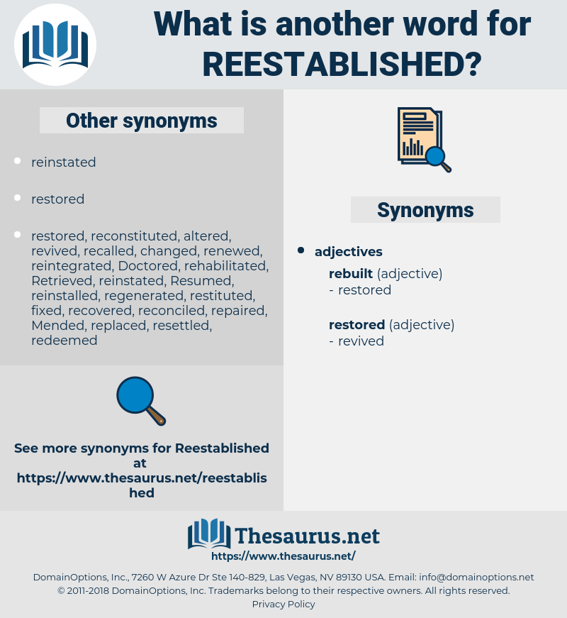 reestablished, synonym reestablished, another word for reestablished, words like reestablished, thesaurus reestablished