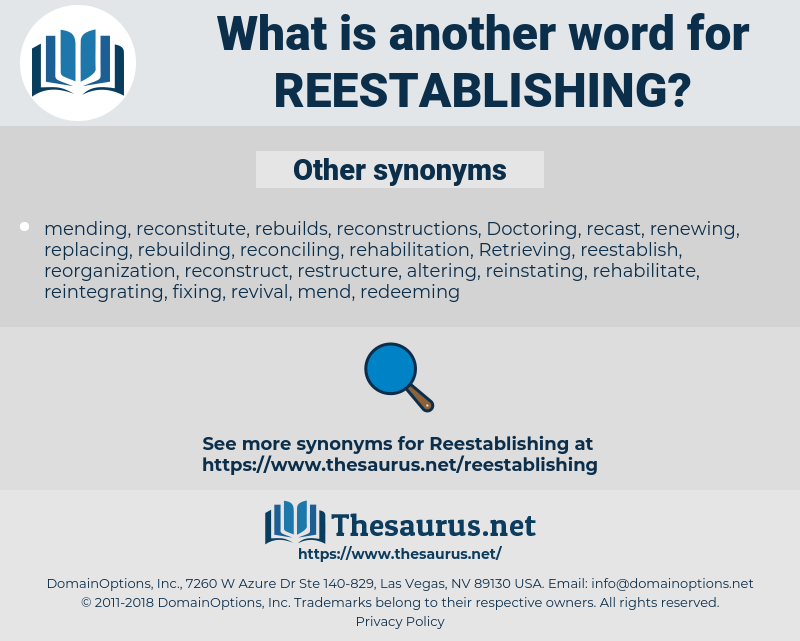 reestablishing, synonym reestablishing, another word for reestablishing, words like reestablishing, thesaurus reestablishing