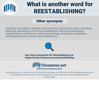 reestablishing, synonym reestablishing, another word for reestablishing, words like reestablishing, thesaurus reestablishing