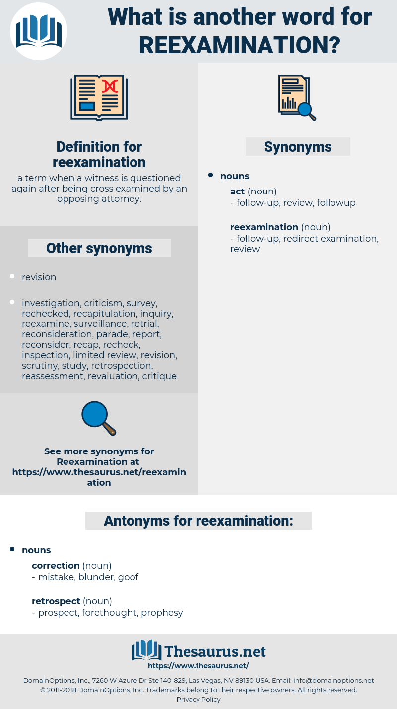 reexamination, synonym reexamination, another word for reexamination, words like reexamination, thesaurus reexamination