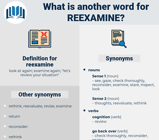 reexamine, synonym reexamine, another word for reexamine, words like reexamine, thesaurus reexamine