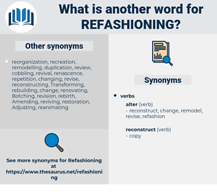 refashioning, synonym refashioning, another word for refashioning, words like refashioning, thesaurus refashioning