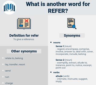 refer, synonym refer, another word for refer, words like refer, thesaurus refer