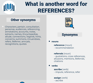 references, synonym references, another word for references, words like references, thesaurus references