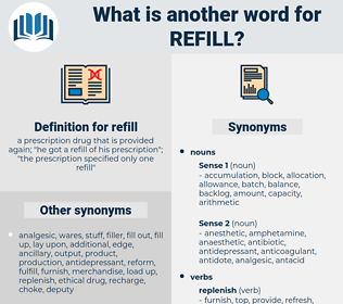 refill, synonym refill, another word for refill, words like refill, thesaurus refill