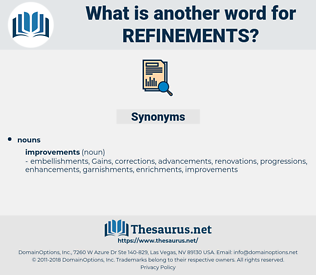refinements, synonym refinements, another word for refinements, words like refinements, thesaurus refinements