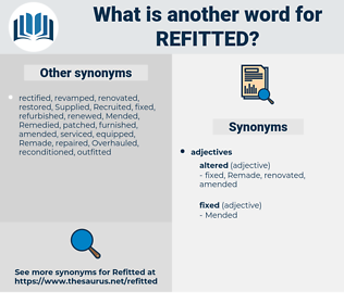 refitted, synonym refitted, another word for refitted, words like refitted, thesaurus refitted