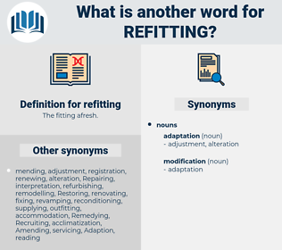 refitting, synonym refitting, another word for refitting, words like refitting, thesaurus refitting