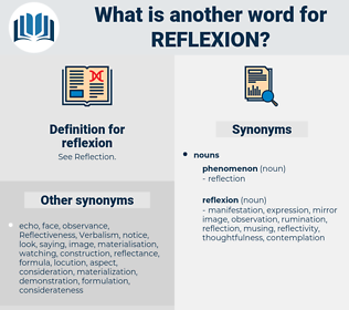 reflexion, synonym reflexion, another word for reflexion, words like reflexion, thesaurus reflexion