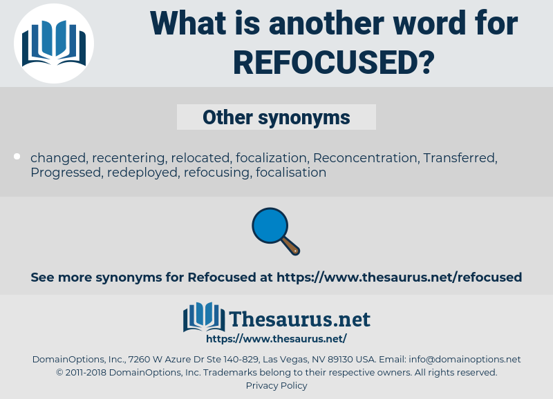 refocused, synonym refocused, another word for refocused, words like refocused, thesaurus refocused