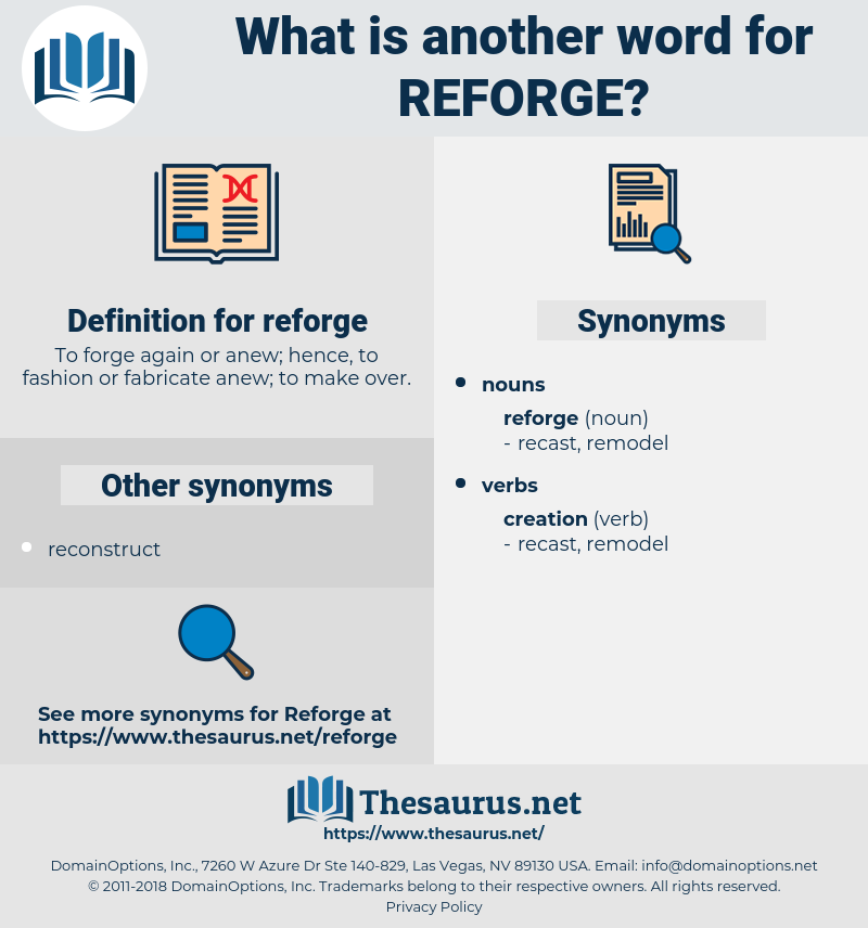 reforge, synonym reforge, another word for reforge, words like reforge, thesaurus reforge