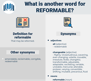 reformable, synonym reformable, another word for reformable, words like reformable, thesaurus reformable