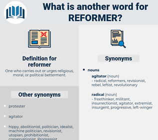 reformer, synonym reformer, another word for reformer, words like reformer, thesaurus reformer