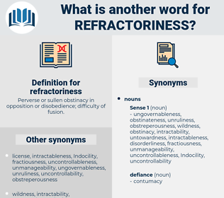 refractoriness, synonym refractoriness, another word for refractoriness, words like refractoriness, thesaurus refractoriness