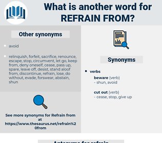 refrain from, synonym refrain from, another word for refrain from, words like refrain from, thesaurus refrain from