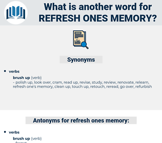 refresh ones memory, synonym refresh ones memory, another word for refresh ones memory, words like refresh ones memory, thesaurus refresh ones memory