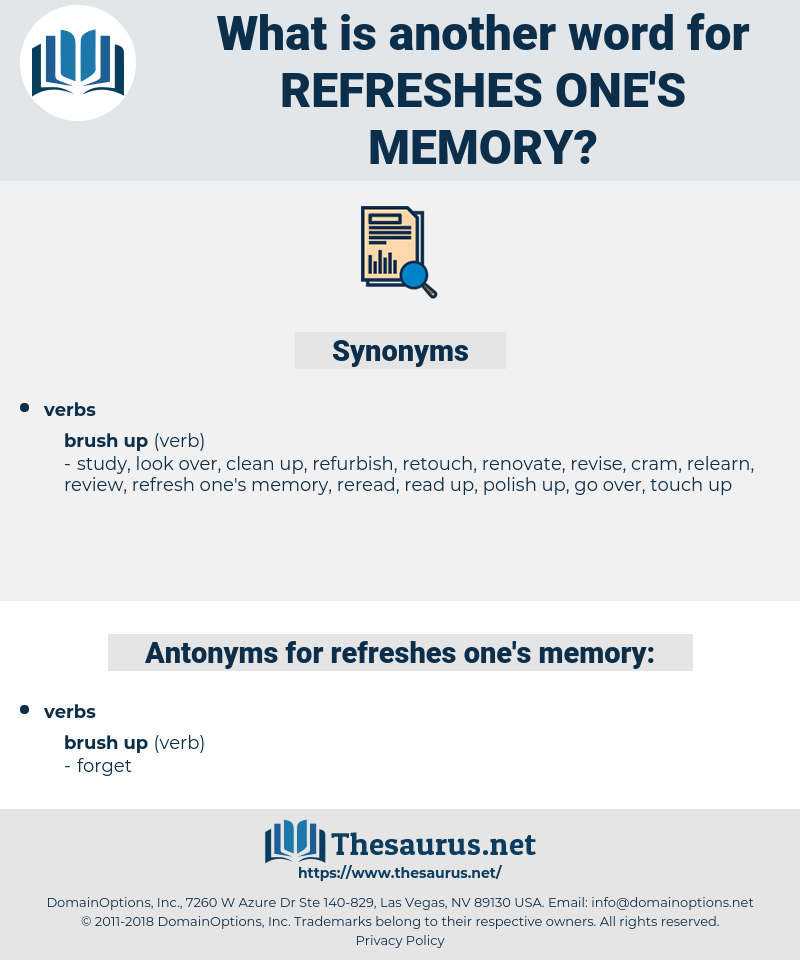 refreshes one's memory, synonym refreshes one's memory, another word for refreshes one's memory, words like refreshes one's memory, thesaurus refreshes one's memory