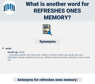 refreshes ones memory, synonym refreshes ones memory, another word for refreshes ones memory, words like refreshes ones memory, thesaurus refreshes ones memory
