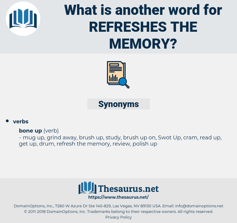 refreshes the memory, synonym refreshes the memory, another word for refreshes the memory, words like refreshes the memory, thesaurus refreshes the memory