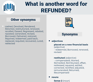 refunded, synonym refunded, another word for refunded, words like refunded, thesaurus refunded