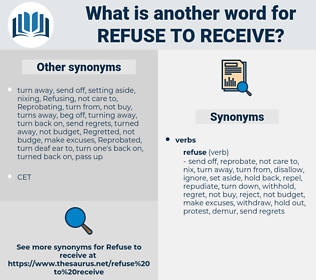 refuse to receive, synonym refuse to receive, another word for refuse to receive, words like refuse to receive, thesaurus refuse to receive