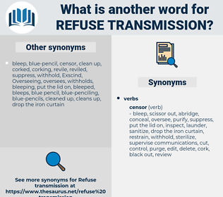 refuse transmission, synonym refuse transmission, another word for refuse transmission, words like refuse transmission, thesaurus refuse transmission