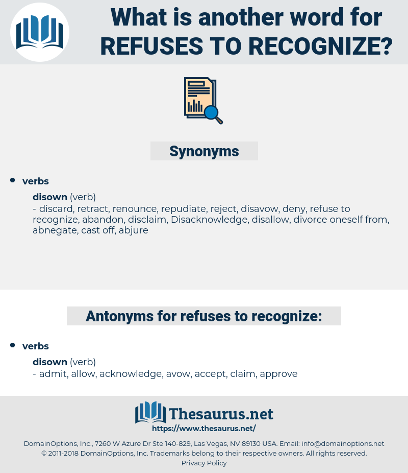 refuses to recognize, synonym refuses to recognize, another word for refuses to recognize, words like refuses to recognize, thesaurus refuses to recognize