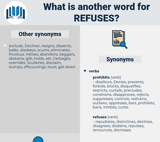refuses, synonym refuses, another word for refuses, words like refuses, thesaurus refuses