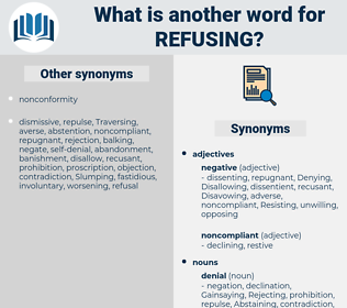 Refusing, synonym Refusing, another word for Refusing, words like Refusing, thesaurus Refusing