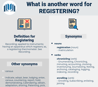Registering, synonym Registering, another word for Registering, words like Registering, thesaurus Registering