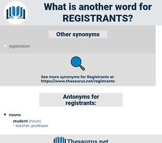 registrants, synonym registrants, another word for registrants, words like registrants, thesaurus registrants
