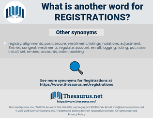 registrations, synonym registrations, another word for registrations, words like registrations, thesaurus registrations